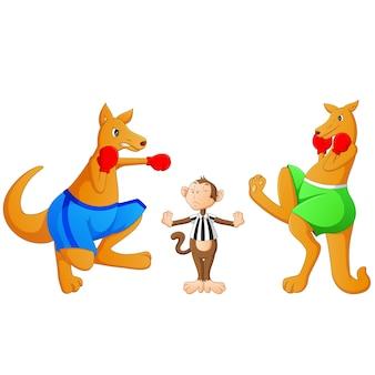 Kreskówka kangur jest boks
