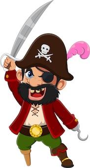 Kreskówka kapitan pirat trzyma miecz