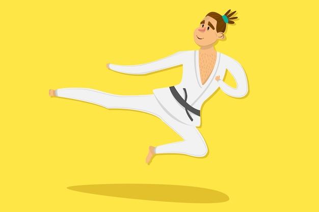 Kreskówka karate mężczyzna jest ubranym kimonowego szkolenie