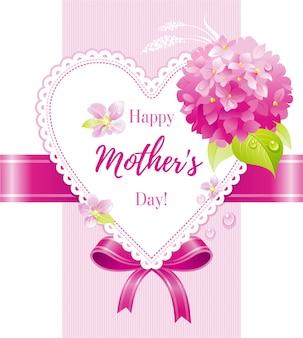 Kreskówka kartkę z życzeniami z hortensją na dzień matki.