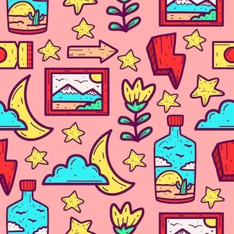 Kreskówka kawaii doodle wzór projektu