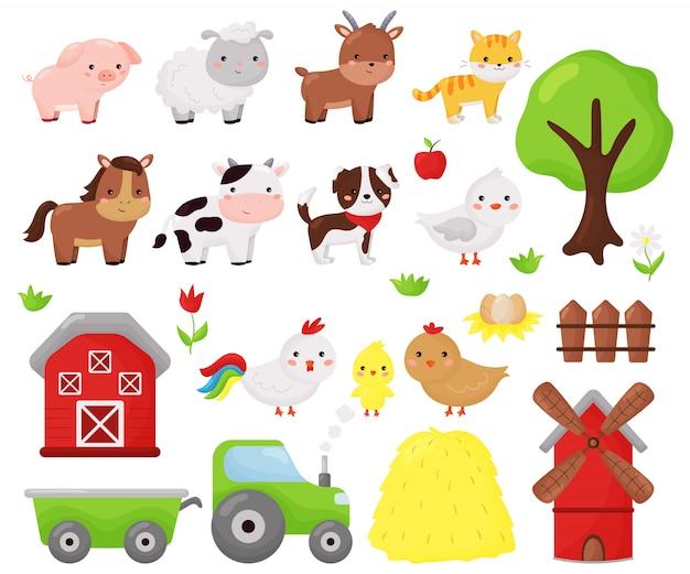 Kreskówka kawaii wektor zestaw zwierząt gospodarskich: owiec, krów, psów, kotów, koni, kóz i kurczaków. przedmioty rolnicze, stodoła i wiatrak. ilustracja dla dzieci.