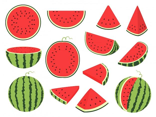 Kreskówka kawałek arbuza. zielone paski jagodowe z czerwonym miąższem i brązowymi kośćmi, pokrojone i pokrojone owoce, pół i pokrojone w plasterki na białym tle