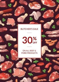 Kreskówka kawałki mięsa pionowe sprzedaż transparent ilustracja z ramką i miejsce na tekst