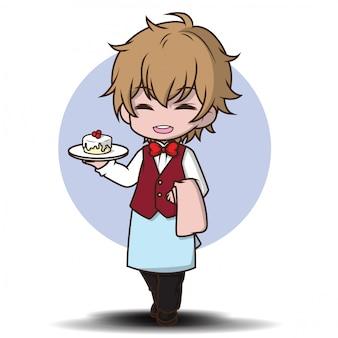 Kreskówka kelner restauracja serwująca