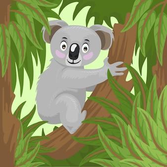 Kreskówka koala na podwórku