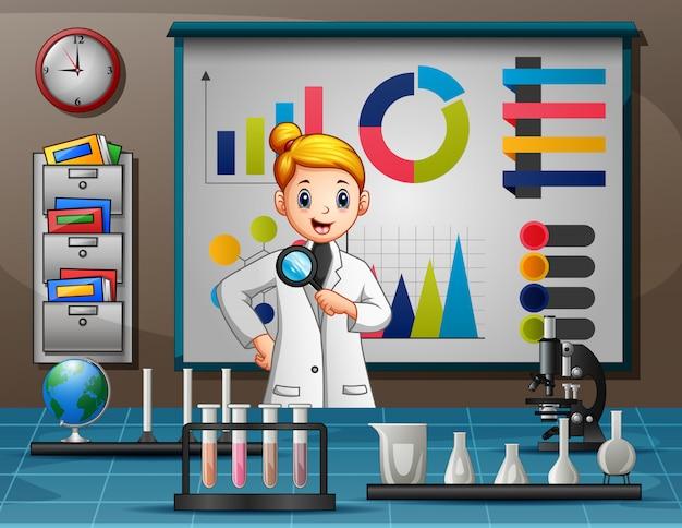 Kreskówka Kobiece Naukowiec Gospodarstwa Szkło Powiększające Premium Wektorów
