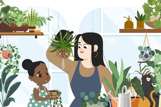 Kreskówka kobieta i dziecko dbanie o rośliny