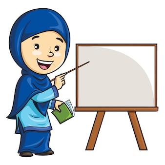 Kreskówka kobieta nauczyciel w hidżabie.