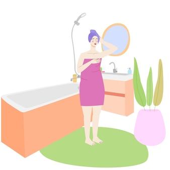 Kreskówka kobieta stojąca w łazience łazienka wnętrze wektor płaski ilustracja na białym tle