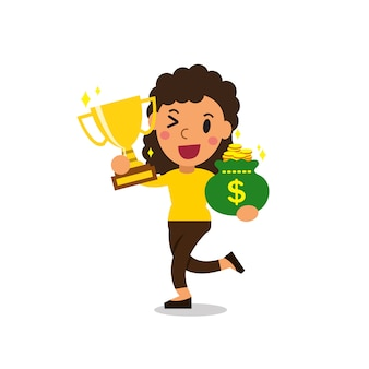 Kreskówka kobieta trzyma trofeum i worek pieniędzy