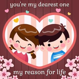 Kreskówka kochający chłopiec i dziewczynka wewnątrz ilustracji karty ramki serca