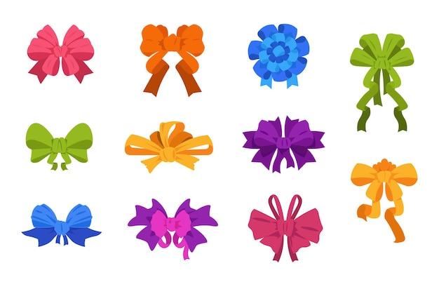 Kreskówka kokardki i wstążki. elementy pudełka na prezenty świąteczne i urodzinowe, kokardki i krawaty na plakaty i kartki z życzeniami. wektor ilustracja styl luksusowych krawatów łuk zestaw