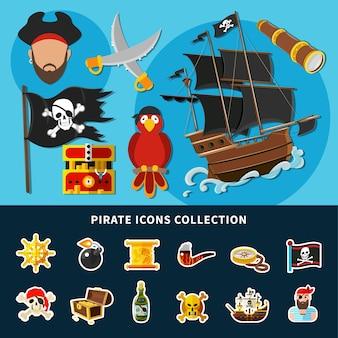 Kreskówka kolekcja ikon piratów z jolly roger, żaglowiec, skrzynia skarbów, rum, ilustracja na białym tle steru