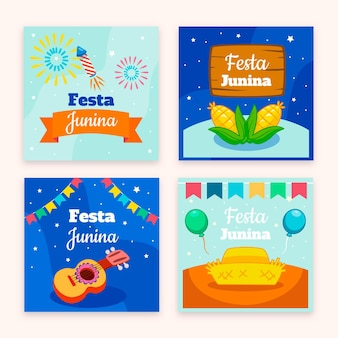 Kreskówka kolekcja kart festa junina