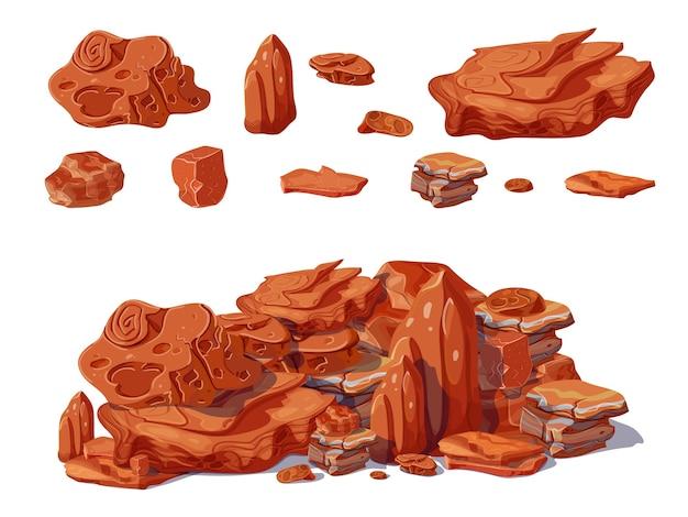 Kreskówka kolorowe kamienie koncepcja ze skałami i głazami o różnych kształtach, które stos tworzy na białym tle