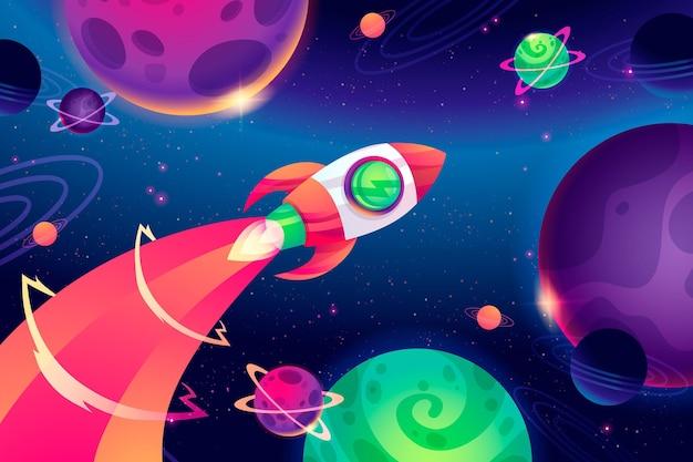Kreskówka Kolorowe Tło Galaktyki Darmowych Wektorów