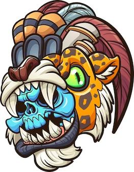 Kreskówka kolorowy aztecki wojownik jaguara z niebieską czaszką
