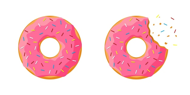 Kreskówka kolorowy smaczny pączek cały i ugryziony zestaw na białym tle. różowy przeszklony widok z góry pączka do dekoracji ciast kawiarni lub projektowania menu piekarni. płaskie ilustracji wektorowych