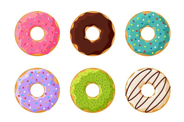Kreskówka kolorowy smaczny zestaw pączków na białym tle. przeszklona kolekcja pączków z widokiem z góry do dekoracji kawiarni lub projektowania menu. płaskie ilustracji wektorowych