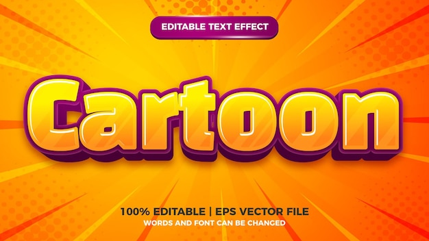 Kreskówka komiks dla dzieci 3d edytowalny szablon efektu stylu tekstu
