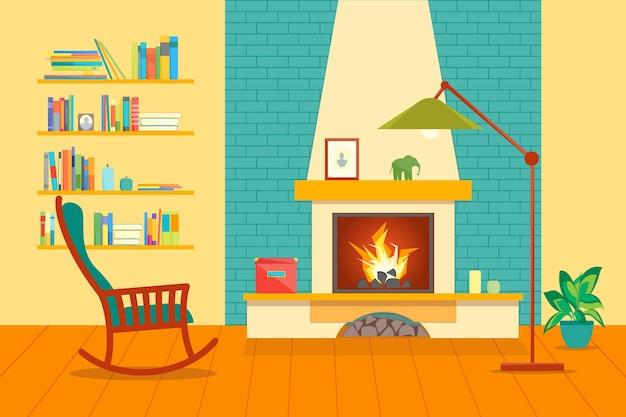 Kreskówka kominek wnętrza domu płaski projekt komfortu domowego
