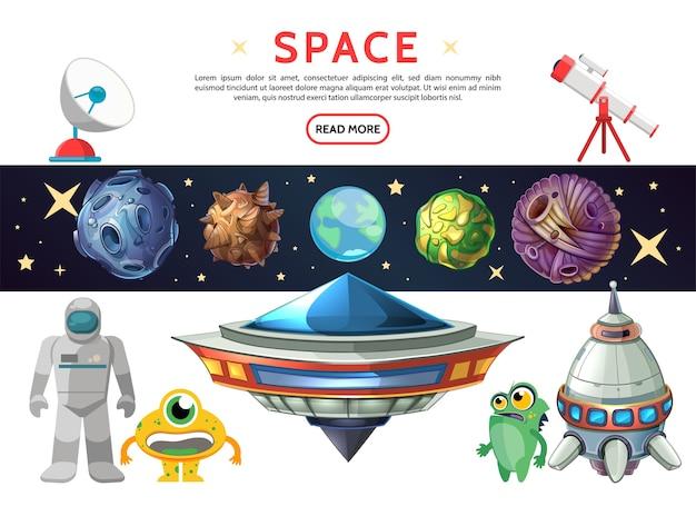 Kreskówka kompozycja kosmiczna z planetoidami planety ziemi, meteory, kosmonauta ufo statek kosmiczny zabawny