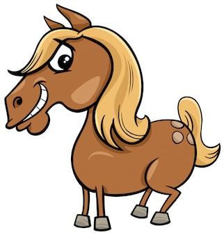 Kreskówka koń lub kucyk postać zwierzęcia gospodarskiego