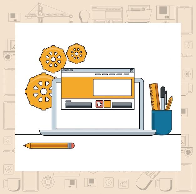 Kreskówka koncepcja wsparcia konserwacji urządzenia technologii