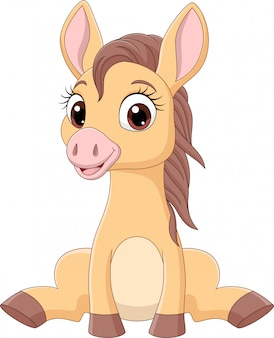 Kreskówka konie śmieszne dziecko siedzi