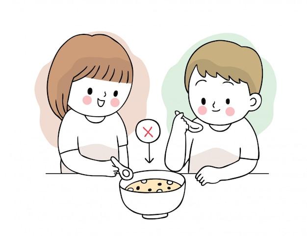 Kreskówka koronawirusa, covid-19, kobieta i mężczyzna jedzący jedzenie w jednej filiżance, rozprzestrzenianie się wirusa.