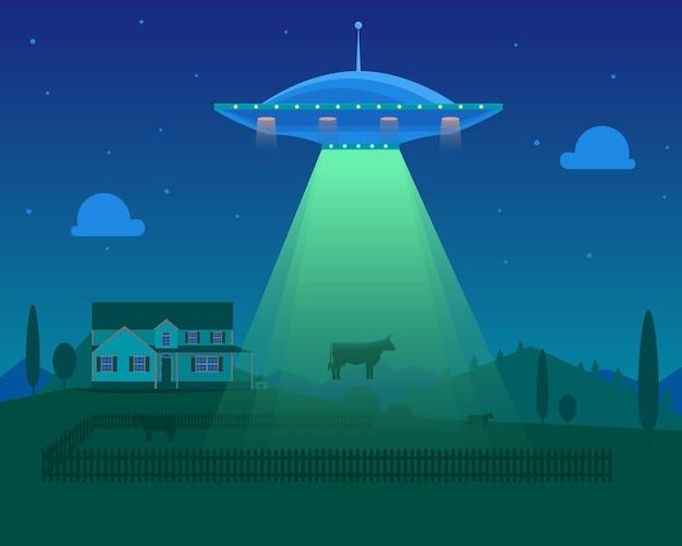 Kreskówka kosmici lub ufo zabiera krowę na tle gospodarstwa. pojęcie nauki lub inwazji. ilustracja wektorowa