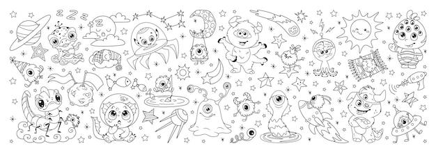 Kreskówka kosmici w kosmosie. doodle ilustracja kolorowanka długa