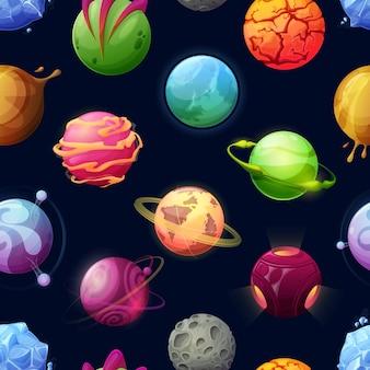 Kreskówka kosmiczne planety i gwiazdy wzór. futurystyczne tło z asteroidami, fantastyczny kosmiczny obcy świat. galaktyczne obiekty z pierścieniami, kraterami i świecącą powierzchnią, astronomia