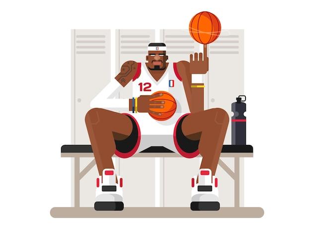 Kreskówka koszykarz. osoba sportowca, gra i siłacz, sportowiec charakter
