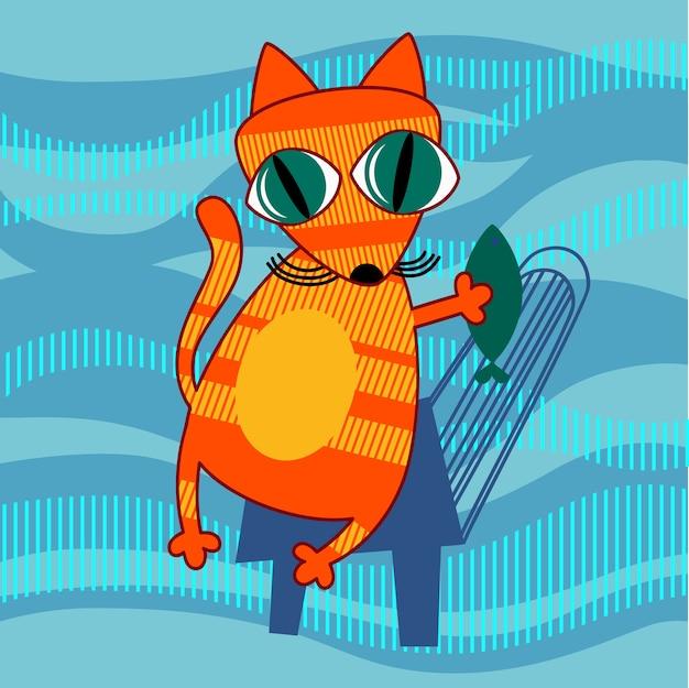 Kreskówka kot gospodarstwa ryby płaski wektor ilustracja