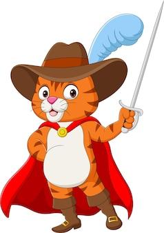 Kreskówka kot w butach trzymający miecz