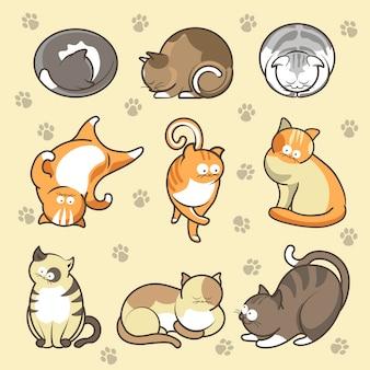 Kreskówka koty kocięta w różnych pozach zestaw ikon wektorowych