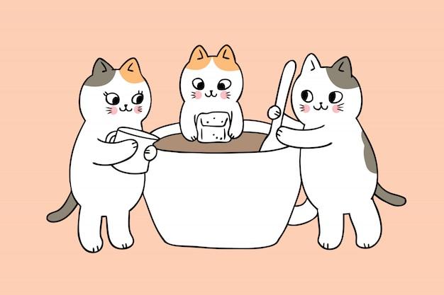 Kreskówka koty słodkie i wektor filiżanka kawy.