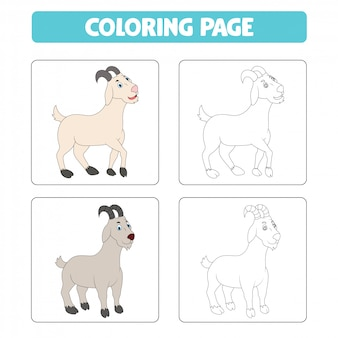 Kreskówka koza, kolorowanka