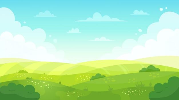 Kreskówka krajobraz łąki. lato zielone pola widok, wiosna trawnik wzgórze i błękitne niebo, zielona trawa pola krajobraz ilustracja tło. trawa polna, krajobraz łąka wiosną lub latem