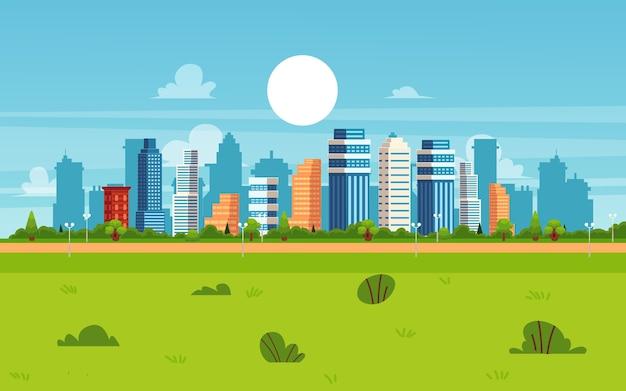 Kreskówka krajobraz miasta w letni dzień