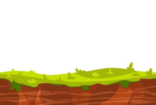 Kreskówka krajobraz ziemi z zieloną trawą do ilustracji interfejsu użytkownika gry