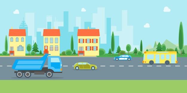 Kreskówka krajobrazu miejskiego z drogi i ruchu transportowego elementy projektu w stylu płaski elewacji budynku.