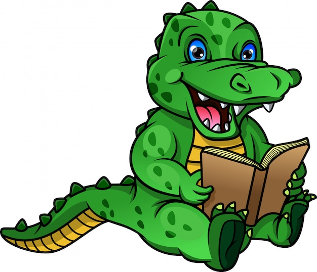 Kreskówka krokodyl czytanie książki