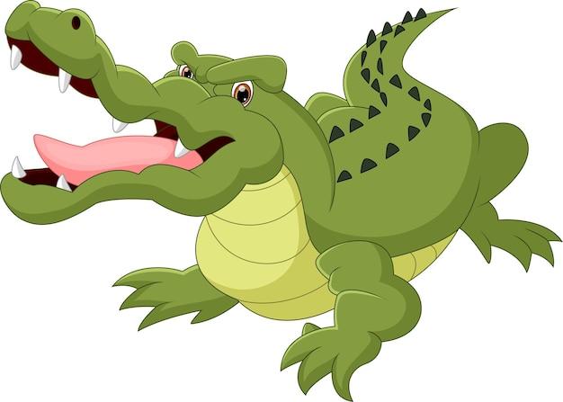 Kreskówka krokodyl na białym tle