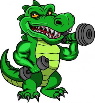 Kreskówka krokodyl trzymając hantle