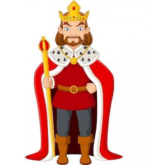 Kreskówka król trzyma złote berło