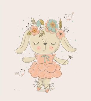 Kreskówka króliczek balet tancerz ręcznie rysowane ilustracji wektorowych