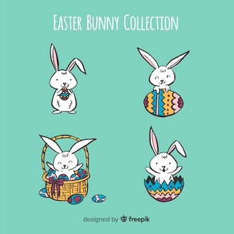 Kreskówka króliczki wielkanocne kolekcja